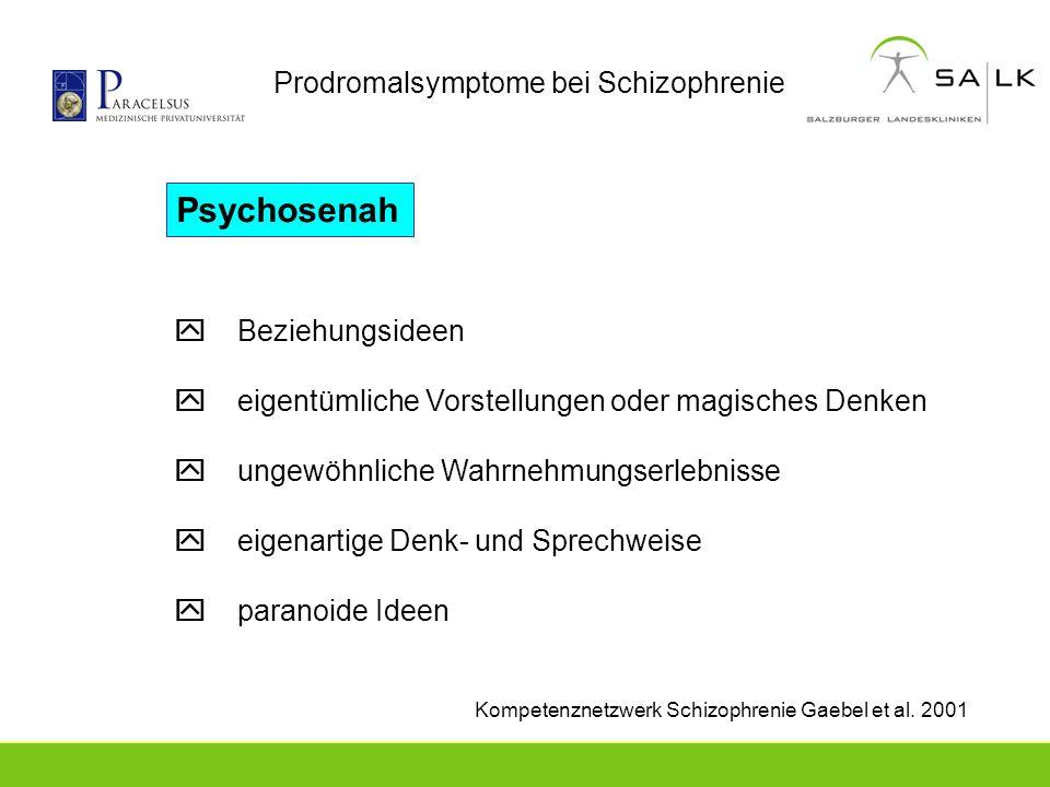 Prodromalsymptome bei Schizophrenie Kompetenznetzwerk Schizophrenie Gaebel et al. 2001 Beziehungsideen eigentümliche Vorstellungen oder magisches Denk