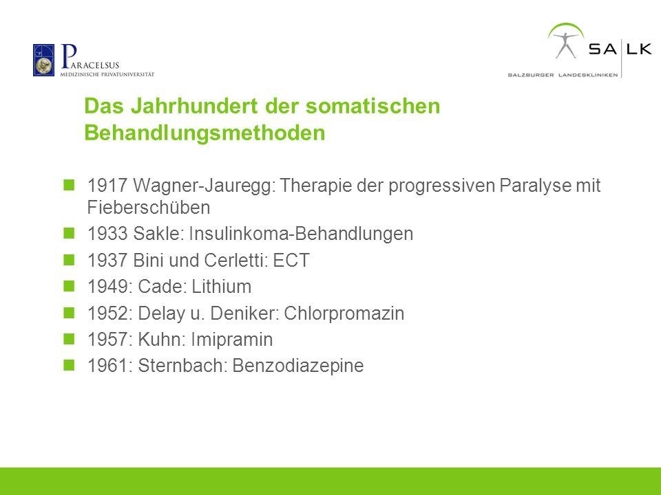 Das Jahrhundert der somatischen Behandlungsmethoden 1917 Wagner-Jauregg: Therapie der progressiven Paralyse mit Fieberschüben 1933 Sakle: Insulinkoma-