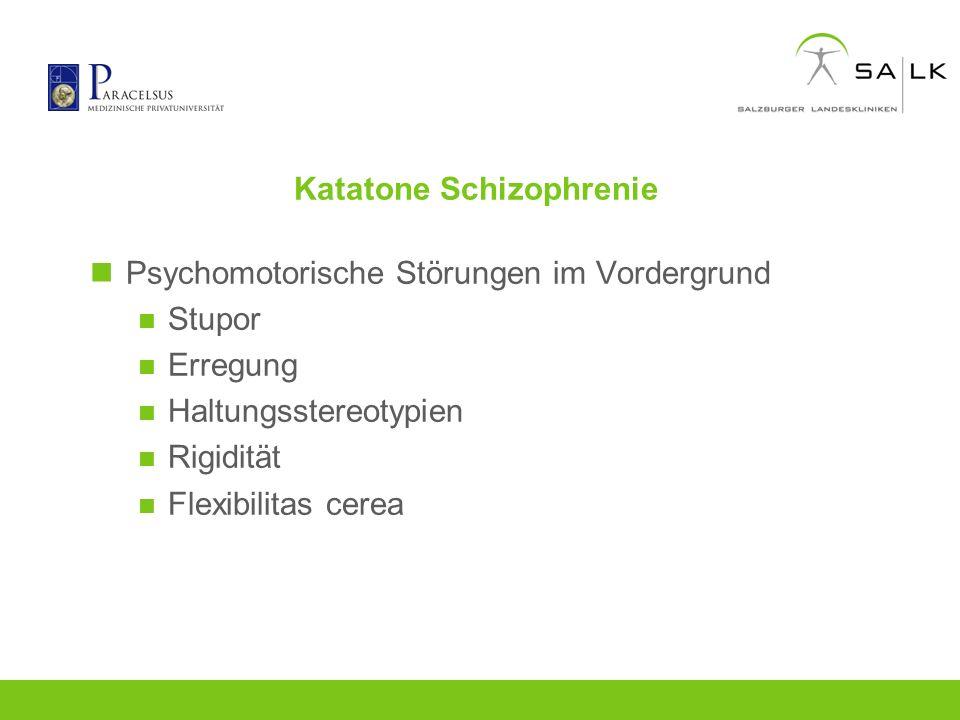 Katatone Schizophrenie Psychomotorische Störungen im Vordergrund Stupor Erregung Haltungsstereotypien Rigidität Flexibilitas cerea