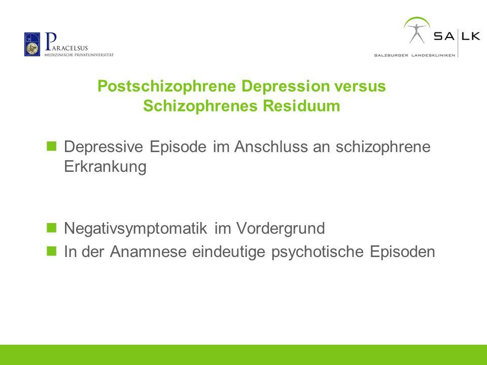 Postschizophrene Depression versus Schizophrenes Residuum Depressive Episode im Anschluss an schizophrene Erkrankung Negativsymptomatik im Vordergrund