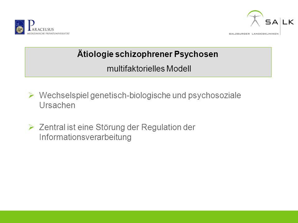 Ätiologie schizophrener Psychosen multifaktorielles Modell Wechselspiel genetisch-biologische und psychosoziale Ursachen Zentral ist eine Störung der