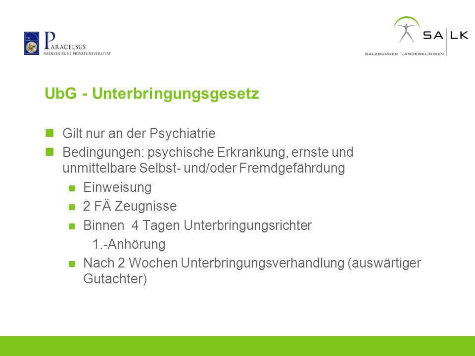 UbG - Unterbringungsgesetz Gilt nur an der Psychiatrie Bedingungen: psychische Erkrankung, ernste und unmittelbare Selbst- und/oder Fremdgefährdung Ei