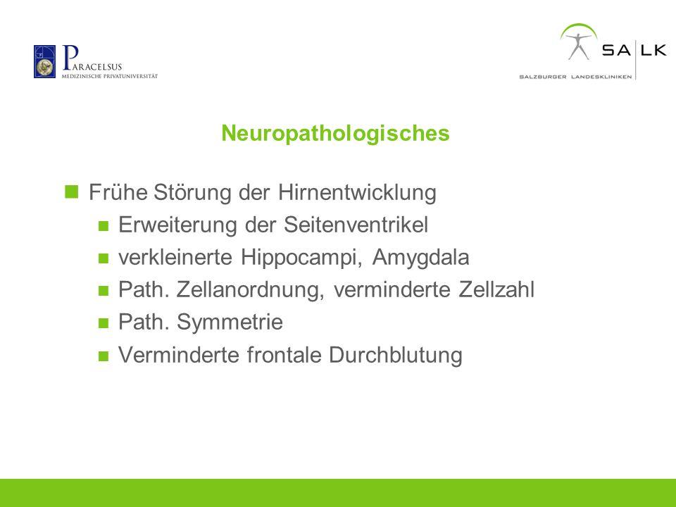 Neuropathologisches Frühe Störung der Hirnentwicklung Erweiterung der Seitenventrikel verkleinerte Hippocampi, Amygdala Path. Zellanordnung, verminder
