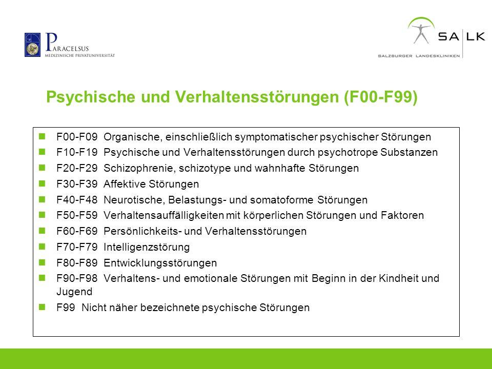 Psychische und Verhaltensstörungen (F00-F99) F00-F09 Organische, einschließlich symptomatischer psychischer Störungen F10-F19 Psychische und Verhalten