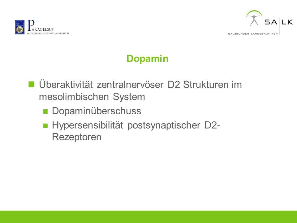 Dopamin Überaktivität zentralnervöser D2 Strukturen im mesolimbischen System Dopaminüberschuss Hypersensibilität postsynaptischer D2- Rezeptoren