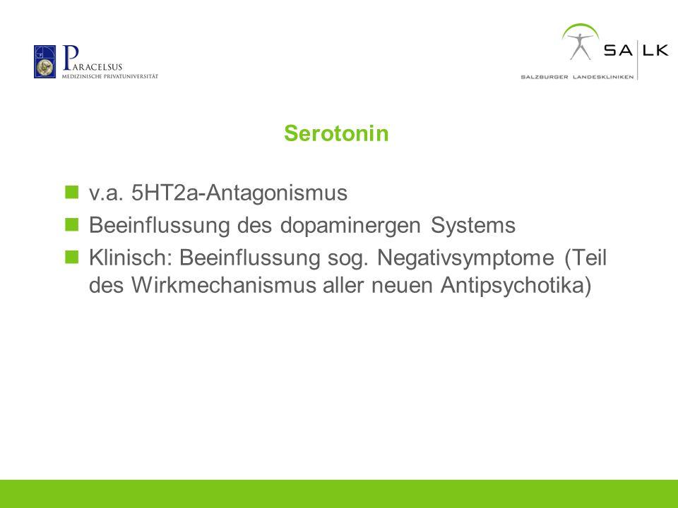 Serotonin v.a. 5HT2a-Antagonismus Beeinflussung des dopaminergen Systems Klinisch: Beeinflussung sog. Negativsymptome (Teil des Wirkmechanismus aller