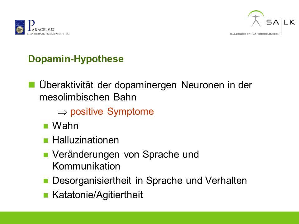 Dopamin-Hypothese Überaktivität der dopaminergen Neuronen in der mesolimbischen Bahn positive Symptome Wahn Halluzinationen Veränderungen von Sprache