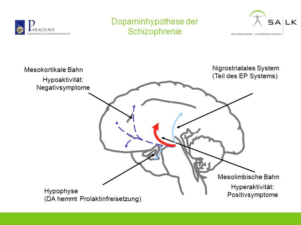 Dopaminhypothese der Schizophrenie Mesolimbische Bahn Hypophyse (DA hemmt Prolaktinfreisetzung) Mesokortikale Bahn Hypoaktivität: Negativsymptome Hype
