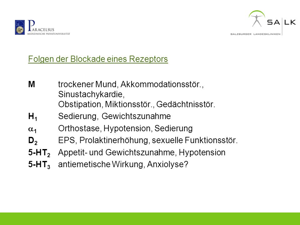 Folgen der Blockade eines Rezeptors Mtrockener Mund, Akkommodationsstör., Sinustachykardie, Obstipation, Miktionsstör., Gedächtnisstör. H 1 Sedierung,