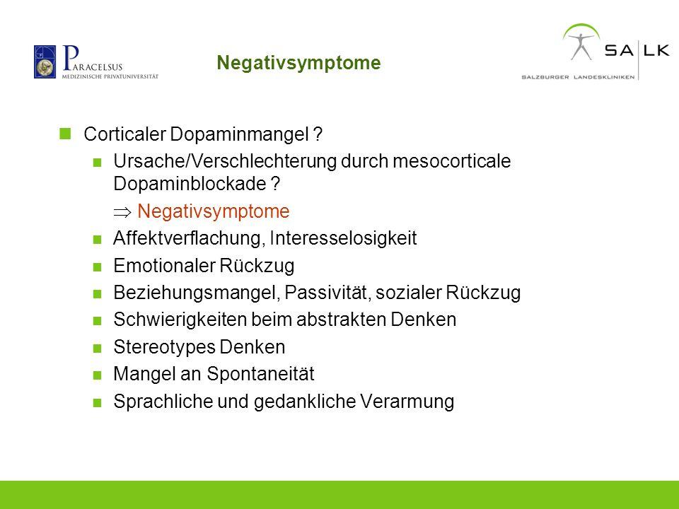 Negativsymptome Corticaler Dopaminmangel ? Ursache/Verschlechterung durch mesocorticale Dopaminblockade ? Negativsymptome Affektverflachung, Interesse