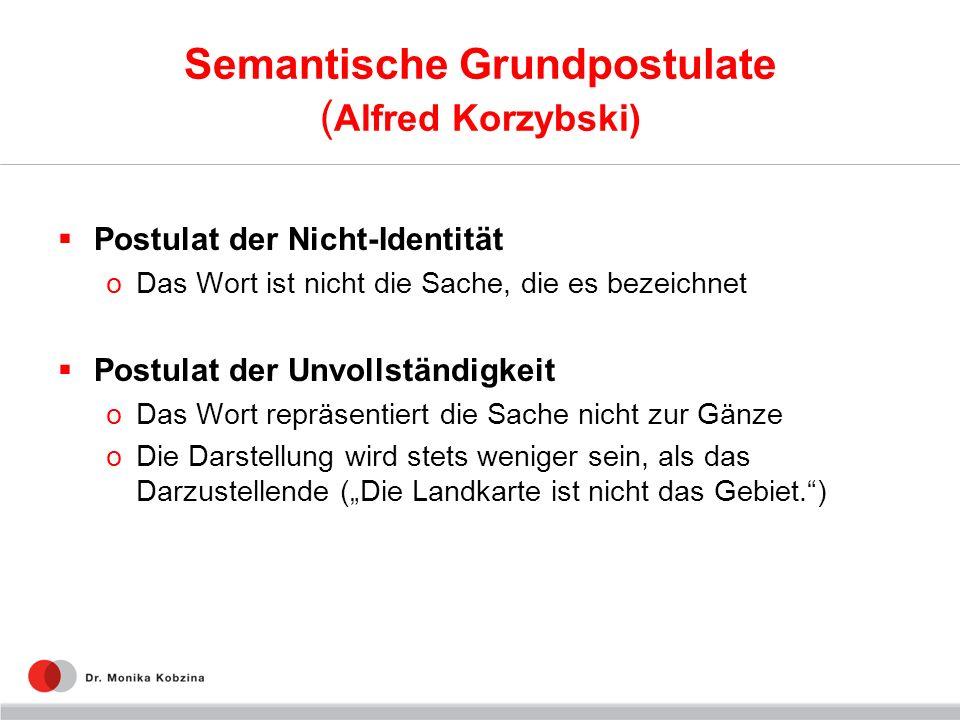 Semantische Grundpostulate ( Alfred Korzybski) Postulat der Nicht-Identität oDas Wort ist nicht die Sache, die es bezeichnet Postulat der Unvollständi