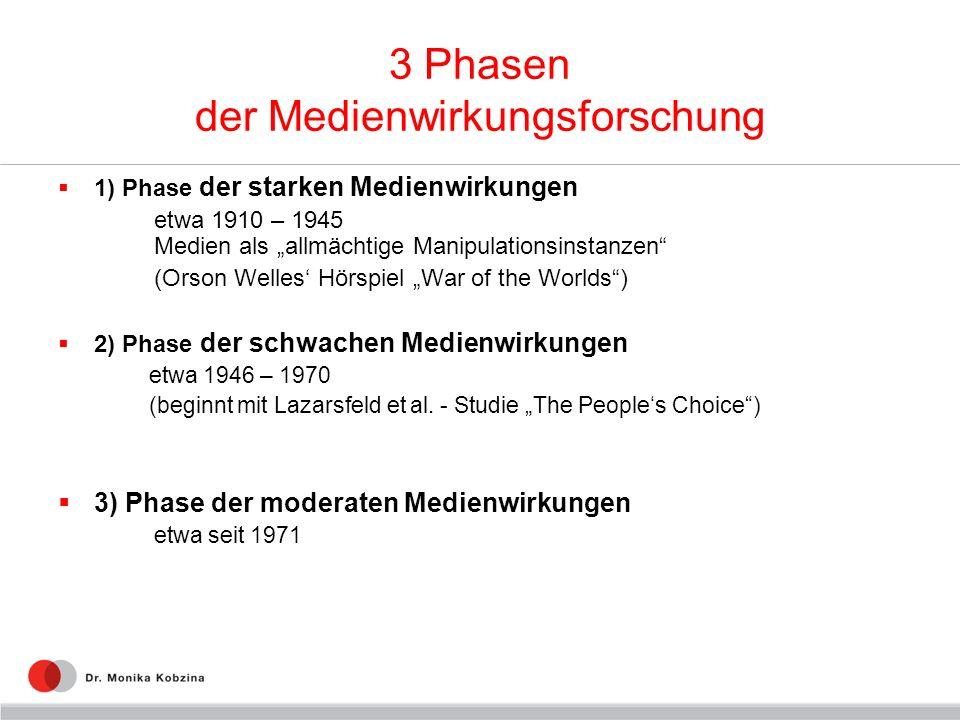 3 Phasen der Medienwirkungsforschung 1) Phase der starken Medienwirkungen etwa 1910 – 1945 Medien als allmächtige Manipulationsinstanzen (Orson Welles