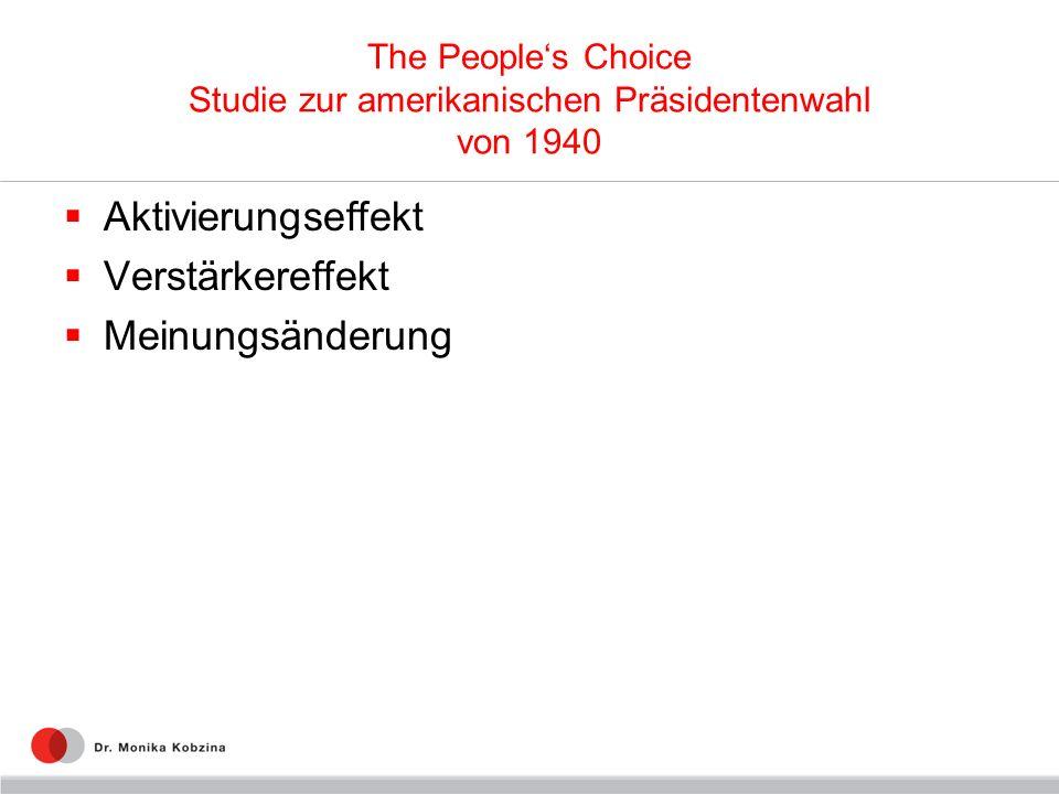 The Peoples Choice Studie zur amerikanischen Präsidentenwahl von 1940 Aktivierungseffekt Verstärkereffekt Meinungsänderung