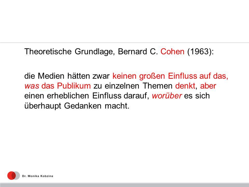 Theoretische Grundlage, Bernard C. Cohen (1963): die Medien hätten zwar keinen großen Einfluss auf das, was das Publikum zu einzelnen Themen denkt, ab