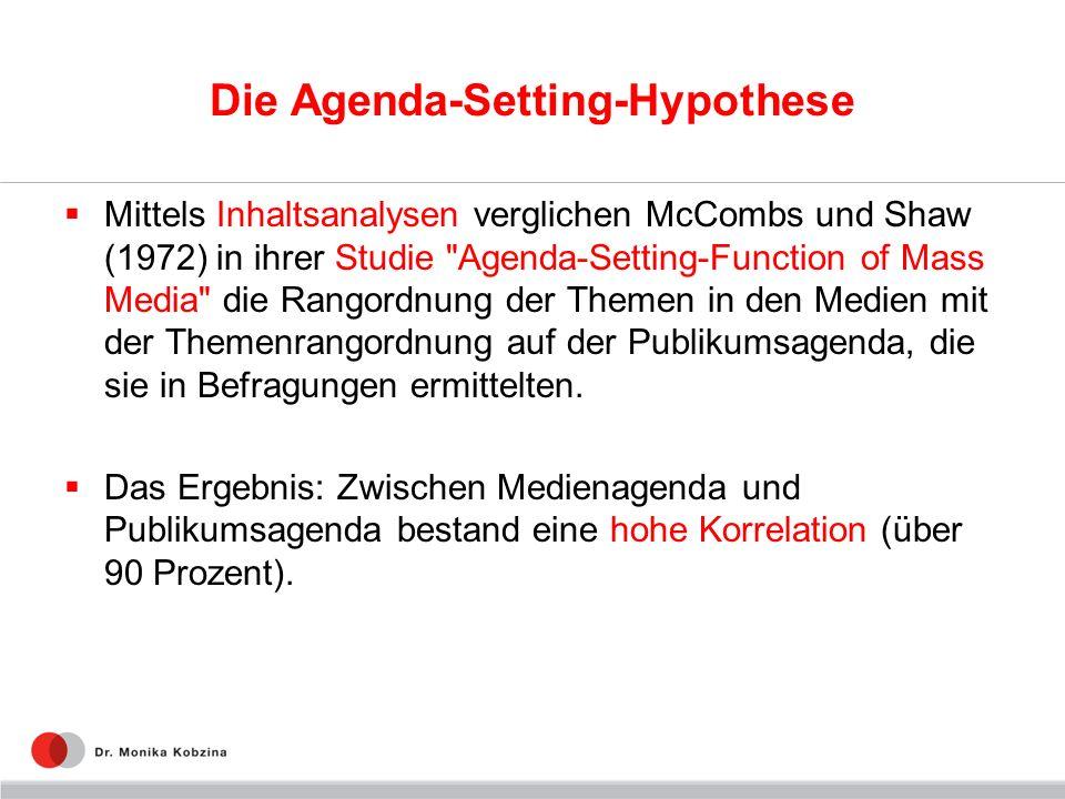 Die Agenda-Setting-Hypothese Mittels Inhaltsanalysen verglichen McCombs und Shaw (1972) in ihrer Studie