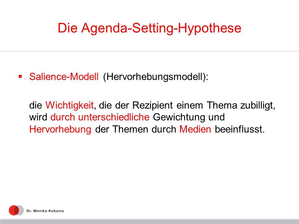 Die Agenda-Setting-Hypothese Salience-Modell (Hervorhebungsmodell): die Wichtigkeit, die der Rezipient einem Thema zubilligt, wird durch unterschiedli
