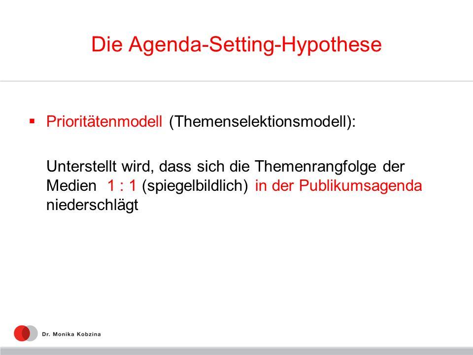 Die Agenda-Setting-Hypothese Prioritätenmodell (Themenselektionsmodell): Unterstellt wird, dass sich die Themenrangfolge der Medien 1 : 1 (spiegelbild