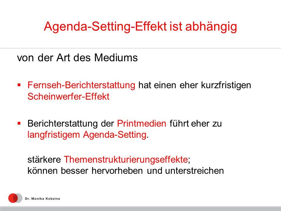 Agenda-Setting-Effekt ist abhängig von der Art des Mediums Fernseh-Berichterstattung hat einen eher kurzfristigen Scheinwerfer-Effekt Berichterstattun