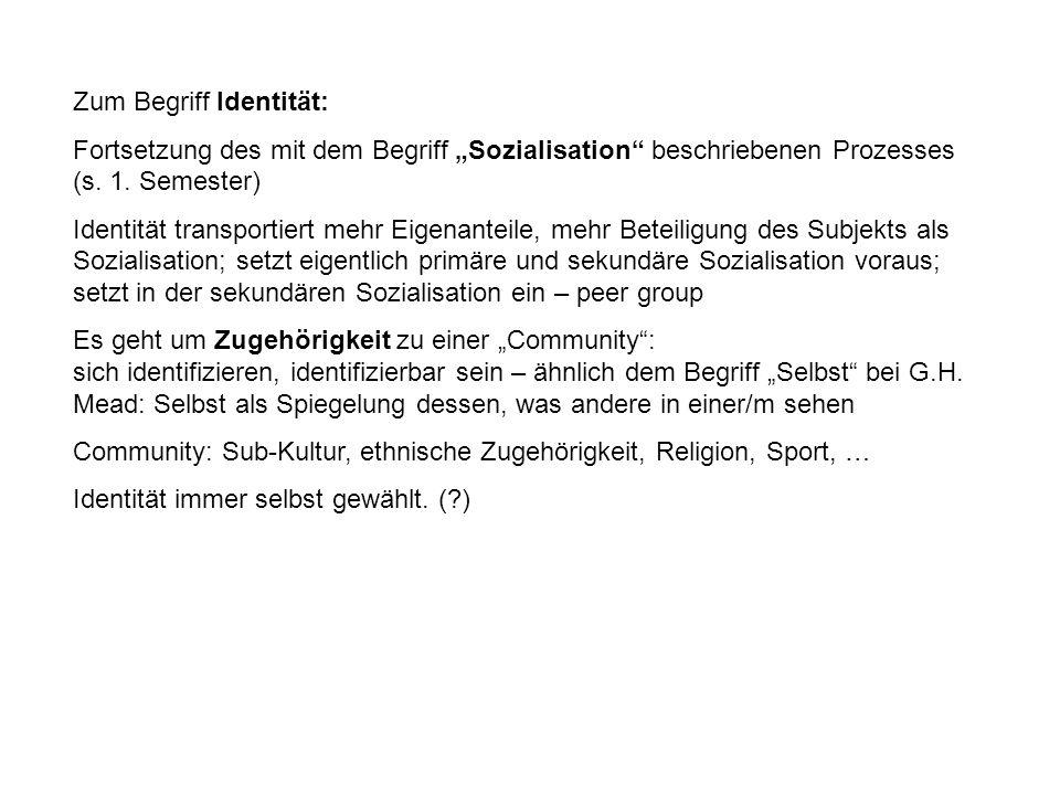Zum Begriff Identität: Fortsetzung des mit dem Begriff Sozialisation beschriebenen Prozesses (s.