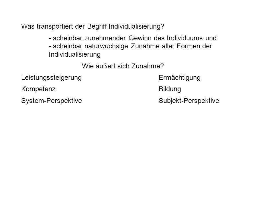 Was transportiert der Begriff Individualisierung.