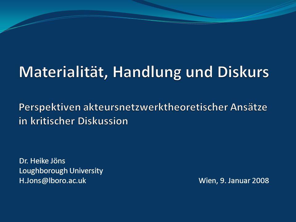 Dr. Heike Jöns Loughborough University H.Jons@lboro.ac.uk Wien, 9. Januar 2008