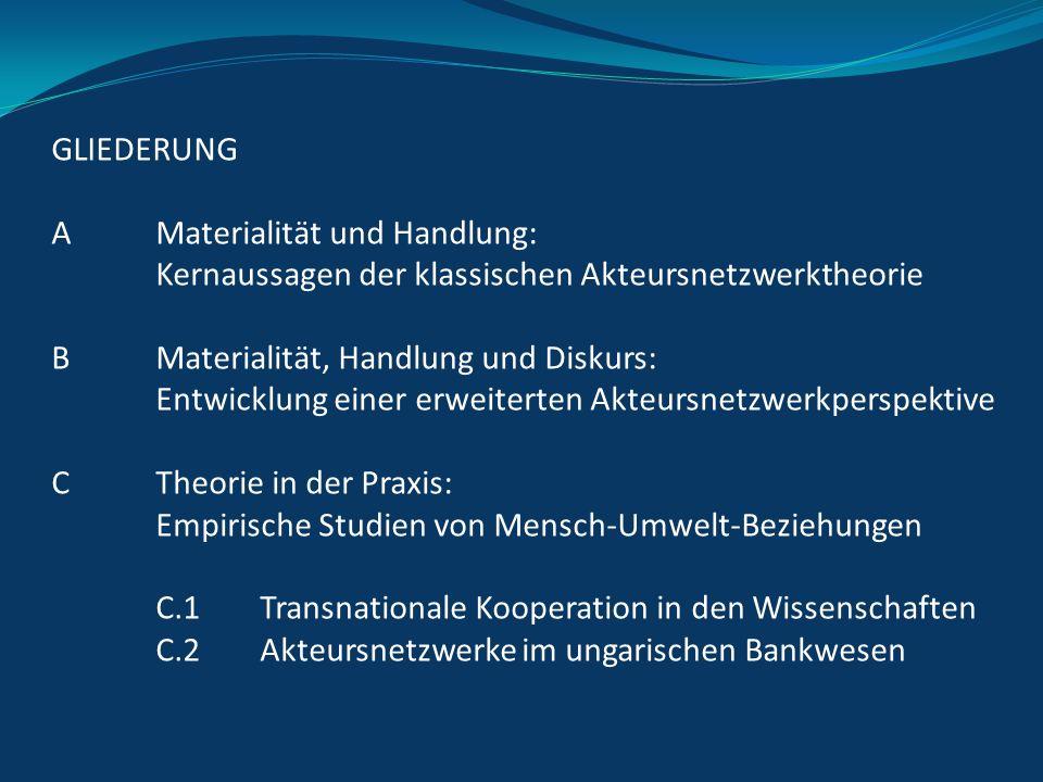 GLIEDERUNG A Materialität und Handlung: Kernaussagen der klassischen Akteursnetzwerktheorie B Materialität, Handlung und Diskurs: Entwicklung einer er