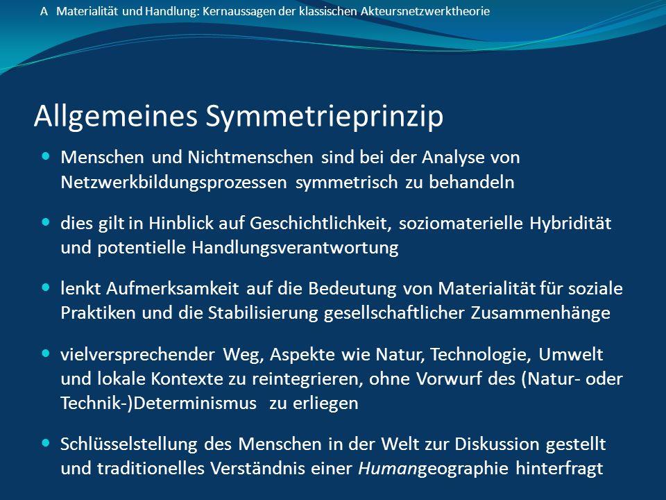 Allgemeines Symmetrieprinzip Menschen und Nichtmenschen sind bei der Analyse von Netzwerkbildungsprozessen symmetrisch zu behandeln dies gilt in Hinbl