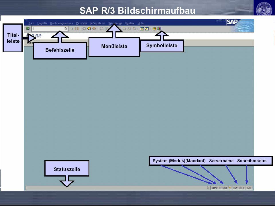 SAP R/3 Bildschirmaufbau