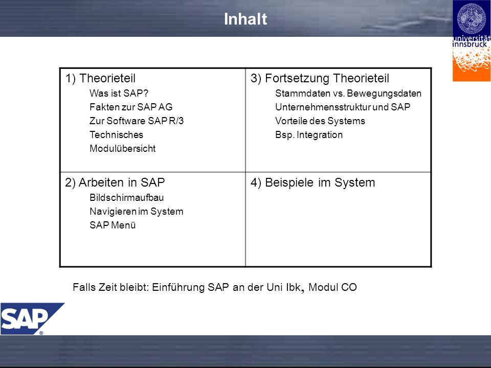 Inhalt 1) Theorieteil Was ist SAP.