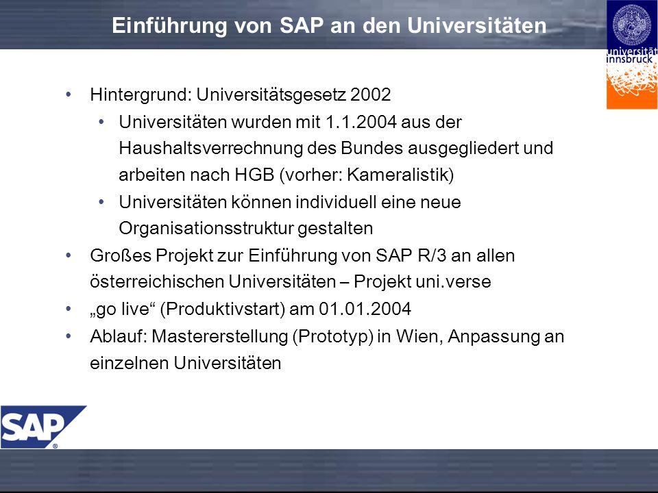 Einführung von SAP an den Universitäten Hintergrund: Universitätsgesetz 2002 Universitäten wurden mit 1.1.2004 aus der Haushaltsverrechnung des Bundes ausgegliedert und arbeiten nach HGB (vorher: Kameralistik) Universitäten können individuell eine neue Organisationsstruktur gestalten Großes Projekt zur Einführung von SAP R/3 an allen österreichischen Universitäten – Projekt uni.verse go live (Produktivstart) am 01.01.2004 Ablauf: Mastererstellung (Prototyp) in Wien, Anpassung an einzelnen Universitäten