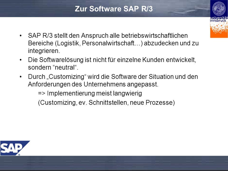 Technisches R/3 steht für Realtime-System, Version 3 SAP R/3 läuft auf verschiedenen Betriebssystemen Die Unternehmensdaten (Kunden, Materialien etc.) werden in einigen tausend Tabellen einer Datenbank gespeichert Die Programmiersprache von SAP R/3 ist ABAP 3-stufige Client-Server-Architektur: –Präsentationsschicht –Anwendungsschicht –Datenbankserver Den Benutzern werden Rollen zugeordnet.