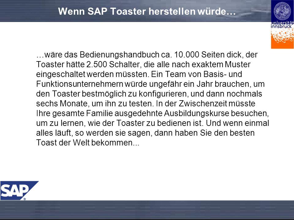 Wenn SAP Toaster herstellen würde… …wäre das Bedienungshandbuch ca.