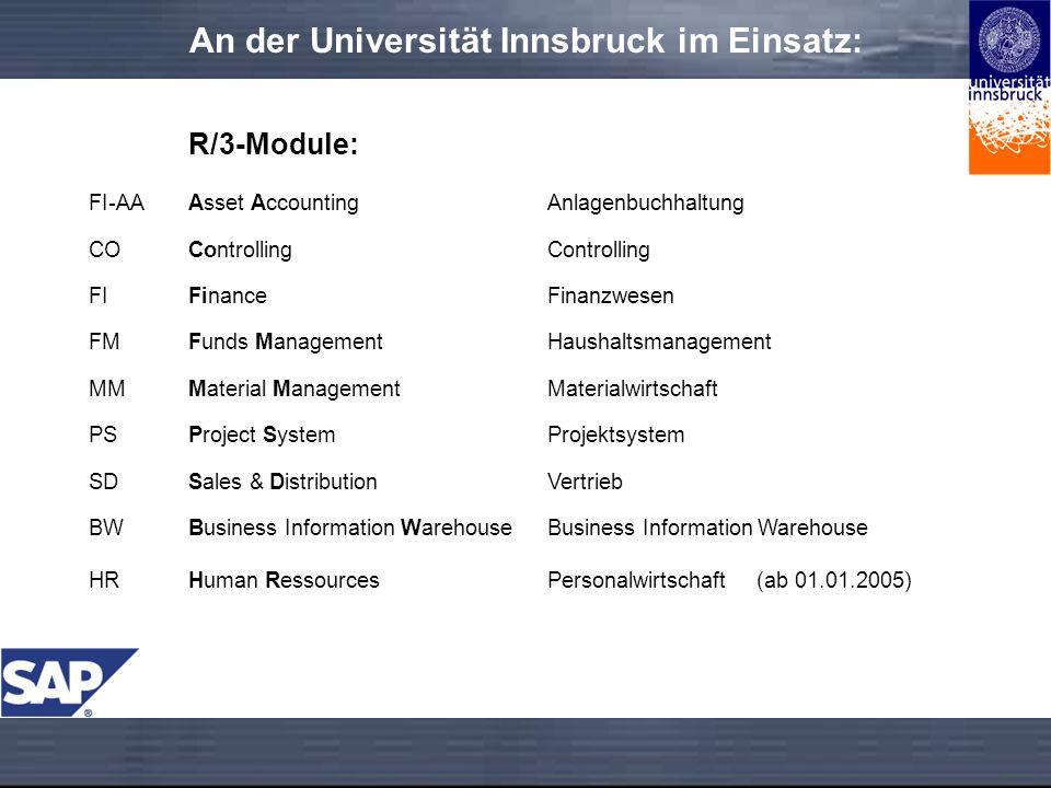 An der Universität Innsbruck im Einsatz: R/3-Module: FI-AAAsset AccountingAnlagenbuchhaltung COControlling FIFinanceFinanzwesen FMFunds ManagementHaus