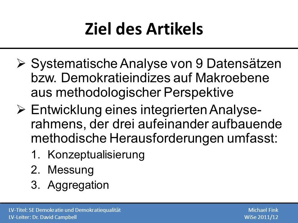 Ziel des Artikels Systematische Analyse von 9 Datensätzen bzw. Demokratieindizes auf Makroebene aus methodologischer Perspektive Entwicklung eines int