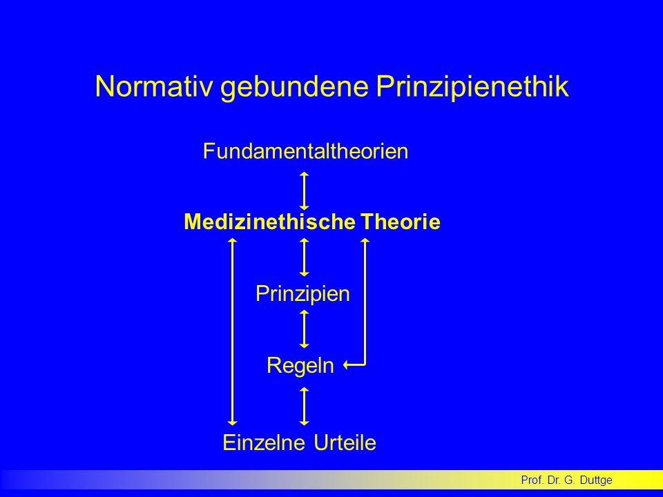 Prof. Dr. G. Duttge Normativ gebundene Prinzipienethik Fundamentaltheorien Prinzipien Regeln Einzelne Urteile Medizinethische Theorie