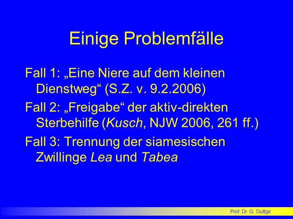 Prof. Dr. G. Duttge Einige Problemfälle Fall 1: Eine Niere auf dem kleinen Dienstweg (S.Z. v. 9.2.2006) Fall 2: Freigabe der aktiv-direkten Sterbehilf