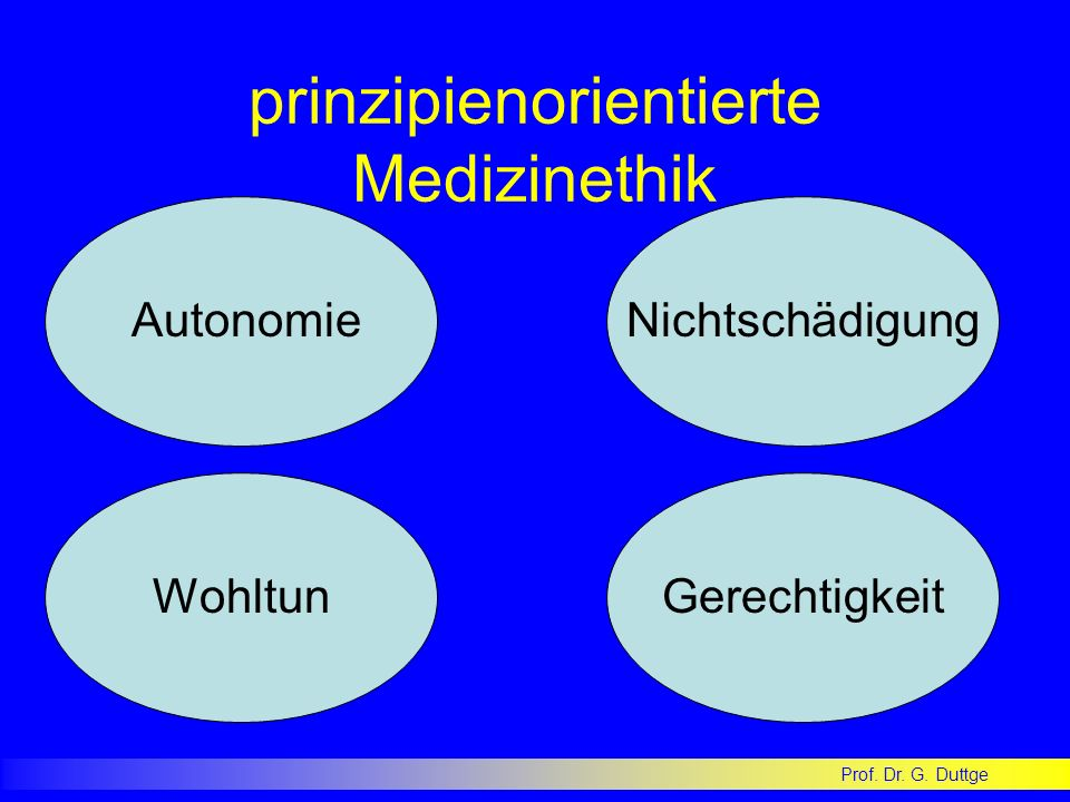 prinzipienorientierte Medizinethik AutonomieNichtschädigung Wohltun Gerechtigkeit