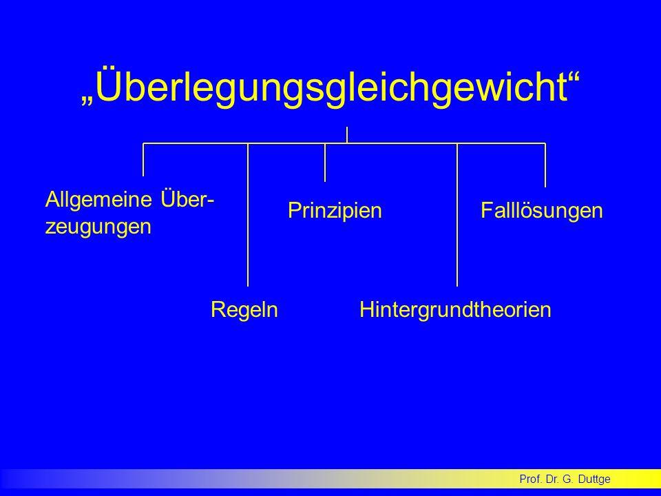 Prof. Dr. G. Duttge Überlegungsgleichgewicht Allgemeine Über- zeugungen Regeln Prinzipien Hintergrundtheorien Falllösungen