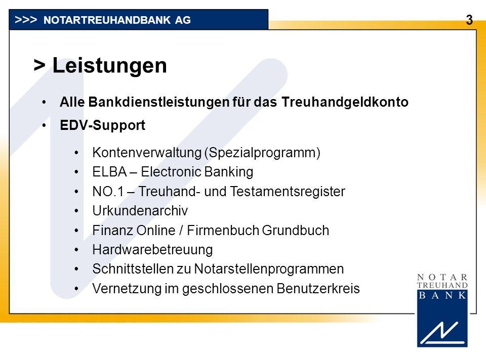 > Leistungen 3 NOTARTREUHANDBANK AG Kontenverwaltung (Spezialprogramm) ELBA – Electronic Banking NO.1 – Treuhand- und Testamentsregister Urkundenarchi