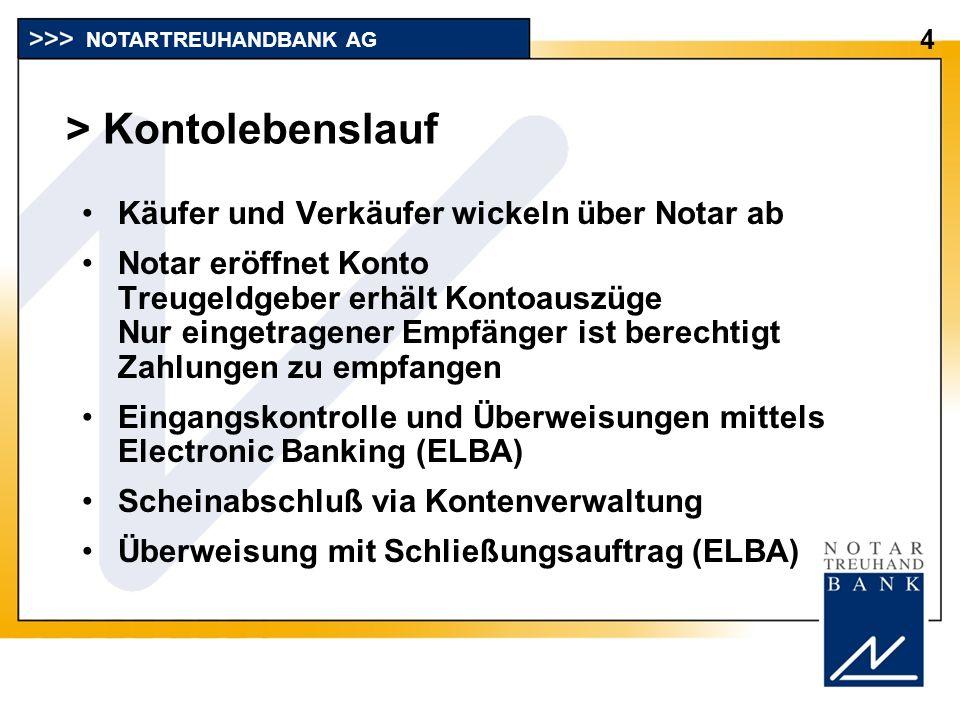 > Kontolebenslauf Käufer und Verkäufer wickeln über Notar ab Notar eröffnet Konto Treugeldgeber erhält Kontoauszüge Nur eingetragener Empfänger ist be