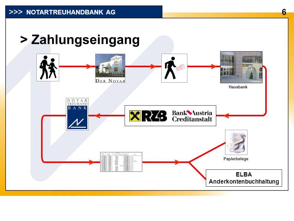 > Zahlungseingang 6 NOTARTREUHANDBANK AG Hausbank ELBA Anderkontenbuchhaltung >>> << > > Papierbelege