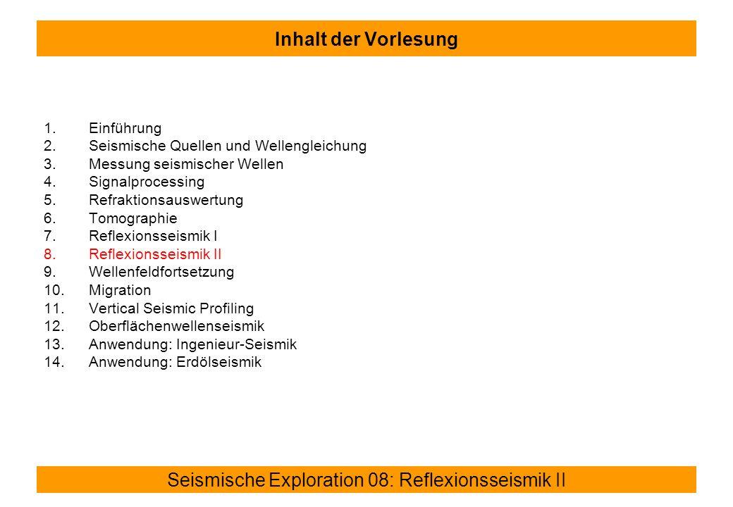 Seismische Exploration 08: Reflexionsseismik II Inhalt der Vorlesung 1.Einführung 2.Seismische Quellen und Wellengleichung 3.Messung seismischer Wellen 4.Signalprocessing 5.Refraktionsauswertung 6.Tomographie 7.Reflexionsseismik I 8.Reflexionsseismik II 9.Wellenfeldfortsetzung 10.Migration 11.Vertical Seismic Profiling 12.Oberflächenwellenseismik 13.Anwendung: Ingenieur-Seismik 14.Anwendung: Erdölseismik