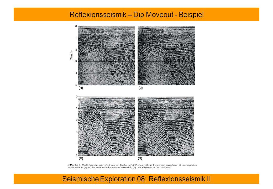 Seismische Exploration 08: Reflexionsseismik II Reflexionsseismik – Dip Moveout - Beispiel