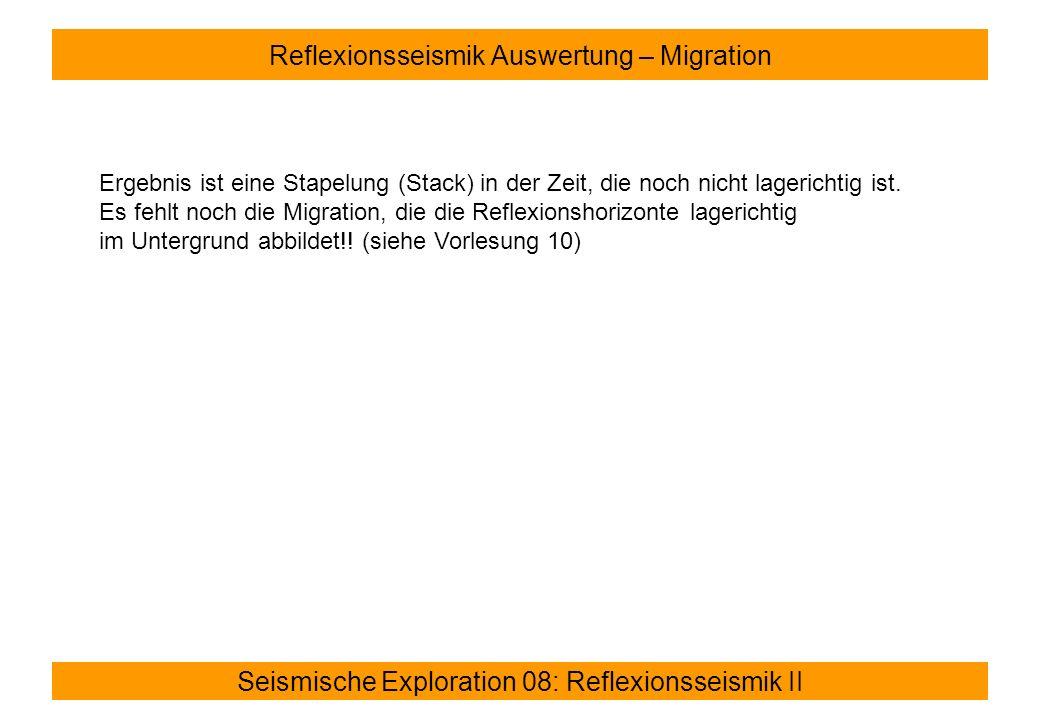 Seismische Exploration 08: Reflexionsseismik II Reflexionsseismik Auswertung – Migration Ergebnis ist eine Stapelung (Stack) in der Zeit, die noch nicht lagerichtig ist.