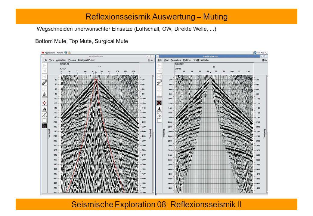 Seismische Exploration 08: Reflexionsseismik II Reflexionsseismik Auswertung – Muting