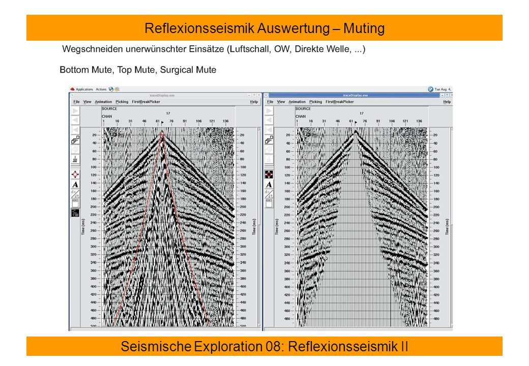 Seismische Exploration 08: Reflexionsseismik II Reflexionsseismik Auswertung – Dynamische Korrektur (Normal Move Out – NMO)