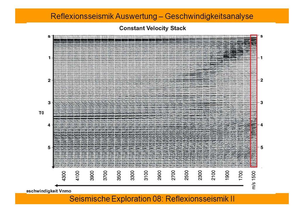 Seismische Exploration 08: Reflexionsseismik II Reflexionsseismik Auswertung – Geschwindigkeitsanalyse