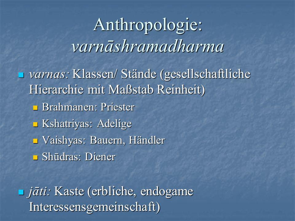 Anthropologie: varnāshramadharma varnas: Klassen/ Stände (gesellschaftliche Hierarchie mit Maßstab Reinheit) varnas: Klassen/ Stände (gesellschaftlich