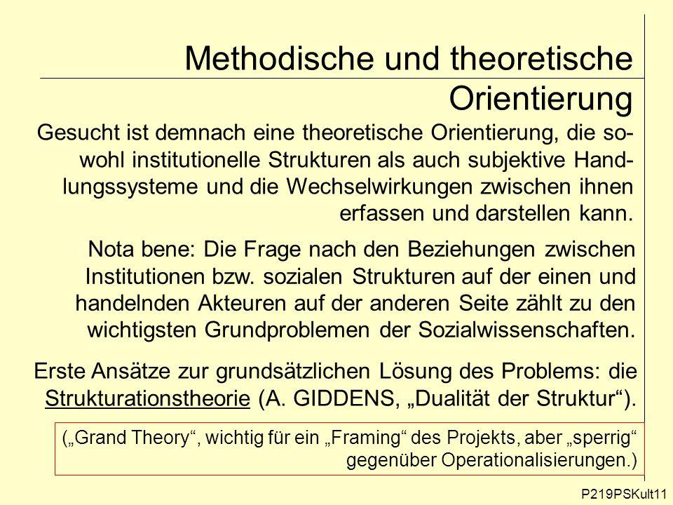 P219PSKult11 Methodische und theoretische Orientierung Gesucht ist demnach eine theoretische Orientierung, die so- wohl institutionelle Strukturen als