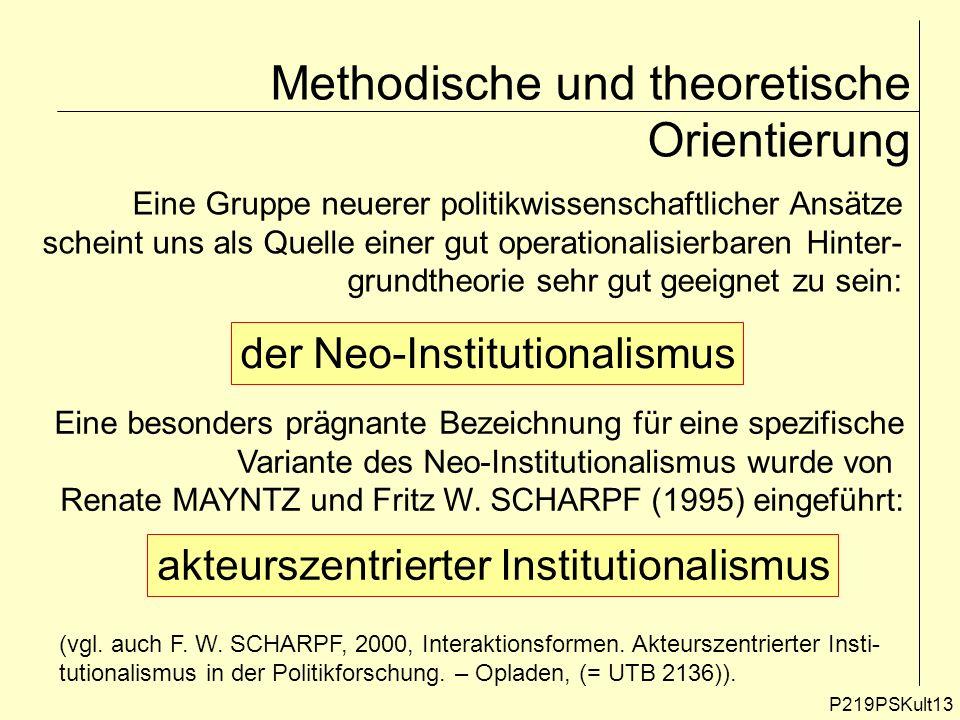 P219PSKult13 Methodische und theoretische Orientierung Eine Gruppe neuerer politikwissenschaftlicher Ansätze scheint uns als Quelle einer gut operatio